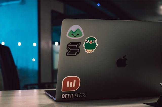 Laptop with stickers